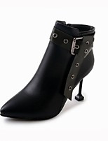 cheap -Women's Shoes PU Winter Fashion Boots Boots Stiletto Heel Pointed Toe Booties/Ankle Boots Buckle for Casual Office & Career Brown Black