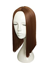 cheap -Short Wig Auburn Wig Synthetic Fiber Wig Kinky Straight Thin Middle Part Line Wigs Cosplay Fashion Wigs For Women