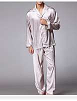abordables -Costumes Pyjamas Homme,Couleur Pleine Fin Polyester Gris Kaki