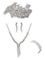 cheap -Women's Hair Combs Bridal Jewelry Sets Rhinestone Fashion European Wedding Party Imitation Diamond Alloy Line Body Jewelry 1 Necklace 1