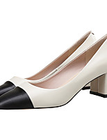 cheap -Women's Shoes Cowhide Spring Fall Comfort Heels Null Chunky Heel Square Toe Null / For Casual Office & Career Nude Black