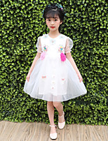 cheap -Girl's Daily Going out Solid Flower/Floral Dress,Polyester Summer Short Sleeves Cute Princess Blushing Pink White Blue