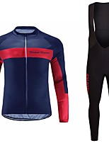 cheap -Cycling Jersey with Bib Tights Unisex Long Sleeves Bike Jersey Clothing Suits Bike Wear Fast Dry Geometric Cycling / Bike Blue Red Purple