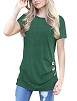 cheap -Women's Going out Casual/Daily Street chic Summer Fall T-shirtSolid Round Neck Short Sleeve Polyester Medium