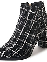 cheap -Women's Shoes Synthetic Microfiber PU Winter Fall Comfort Boots Block Heel Round Toe Mid-Calf Boots for Casual Black/White Black