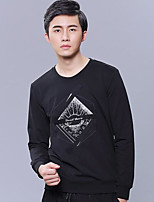 cheap -Men's Petite Going out Casual/Daily Simple Sweatshirt Print Round Neck Without Lining Micro-elastic Cotton Polyester Long Sleeves Winter