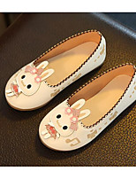 cheap -Girls' Shoes PU Winter Fall Comfort Loafers & Slip-Ons Walking Shoes Animal Print for Casual White Pink
