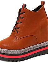 Недорогие -Для женщин Обувь Полиуретан Зима Осень Удобная обувь Ботинки На плоской подошве Круглый носок Ботинки для Повседневные Черный Коричневый