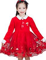 Недорогие -Девичий Платье День рождения На выход Хлопок С принтом Осень Длинные рукава Очаровательный Красный Розовый