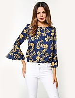 cheap -Women's Daily Holiday Street chic Winter Fall Blouse,Floral Round Neck Long Sleeve Polyester