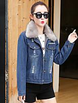 cheap -Women's Daily Vintage Winter Fall Denim Jacket,Solid Shirt Collar Long Sleeve Regular Cotton