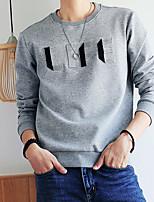 cheap -Men's Casual/Daily Sweatshirt Print Round Neck Micro-elastic Cotton Long Sleeve Winter Fall