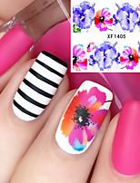 Недорогие -1 Цветы Наклейка для ногтей Разноцветный Украшение для дизайна ногтей