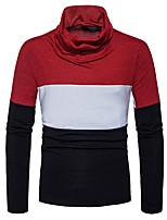 cheap -Men's Daily Casual Regular Pullover,Color Block Plaid Turtleneck Long Sleeves Polyester Spandex Winter Fall Thick Micro-elastic