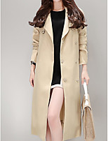 cheap -Women's Casual/Daily Simple Winter Trench Coat,Solid V Neck Long Sleeve Long Cotton Acrylic Oversized
