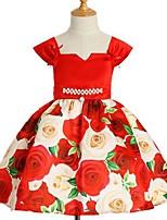 Недорогие -Девичий Платье Искусственный шёлк Полиэстер С принтом Лето Без рукавов Принцесса Синий Красный