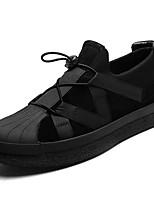 Недорогие -Для мужчин обувь Резина Весна Осень Удобная обувь Кеды Ленты для Черный Серый
