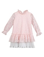 Girl's Casual/Daily Solid Dress,Polyester Winter Fall Long Sleeves Simple Blushing Pink