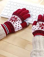 economico -Unisex Inverno Maglia Da ufficio Casual Al polso Interi,Fiocco di neve Marrone Rosso