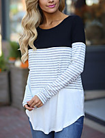 cheap -Women's Daily Holiday Street chic Winter Fall T-shirt,Striped Round Neck Long Sleeve Polyester