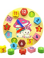 cheap -Wooden Clock Toy Educational Toy Toys Geometric Wooden Education Kids Pieces