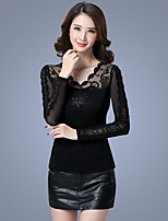 cheap -Women's Daily Casual Spring Fall Blouse,Solid V Neck Long Sleeve Polyester
