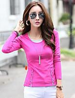 preiswerte -Damen Einfarbig Retro Alltag T-shirt,Rundhalsausschnitt Langärmelige Baumwolle Mittel