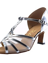 cheap -Women's Latin Leatherette Sandal Indoor Customized Heel Silver / Customizable