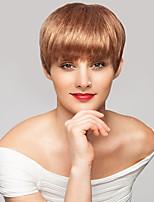 Недорогие -жен. Человеческие волосы без парики Medium Auburn Короткий Прямой силуэт Стрижка под мальчика Боковая часть