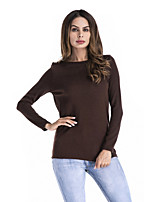 cheap -Women's Daily Active Spring Fall T-shirt,Solid Round Neck Long Sleeve Spandex Medium