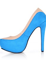 cheap -Women's Shoes PU Velvet Spring Fall Comfort Heels Stiletto Heel Round Toe for Wedding Dress Blue