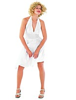 cheap -Marilyn Monroe 1950s Costume Women's Cosplay Costume White Vintage Cosplay Polyster Sleeveless Cold Shoulder Knee Length