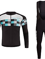 cheap -Cycling Jersey with Bib Tights Unisex Long Sleeves Bike Jersey Clothing Suits Bike Wear Fast Dry Geometric Cycling / Bike Violet Blue