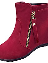 cheap -Women's Shoes Synthetic Microfiber PU Winter Fashion Boots Boots Flat Heel Round Toe Mid-Calf Boots Pearl for Casual Red Black
