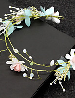 cheap -Women's Headband,Floral Simple Classic Floral Imitation Pearl Rhinestone All Seasons Blushing Pink