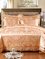 cheap -Duvet Cover Sets Floral Luxury 4 Piece 100% Tencel Jacquard 100% Tencel 1pc Duvet Cover 2pcs Shams 1pc Flat Sheet