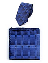 cheap -Men's Polyester Necktie,Casual Striped All Seasons Royal Blue