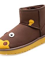 preiswerte -Damen Schuhe PU Winter Herbst Komfort Schneestiefel Stiefel Flacher Absatz Runde Zehe Mittelhohe Stiefel für Normal Gelb Kaffee