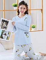 cheap -Women's Suits Pajamas,Print Print Cotton Blue