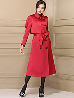 cheap -BAOYAN Women's Casual/Daily Simple Winter Coat,Solid Shirt Collar Long Sleeve Long Polyester