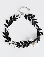 cheap -Women's Leaf Classic Fashion Choker Necklace Imitation Pearl Cloth Alloy Choker Necklace , Daily
