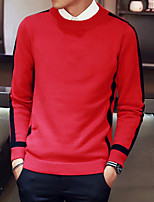 cheap -Men's Casual/Daily Regular Pullover,Color Block Round Neck Long Sleeve Polyester Winter Fall Thin Micro-elastic