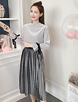 Women's Going out Simple Fall T-Shirt Skirt Suits,Solid Round Neck Long Sleeve Polyester