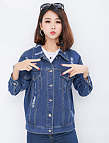 cheap -Women's Daily Vintage Fall Denim Jacket,Solid Shirt Collar Long Sleeve Regular Polyester Oversized