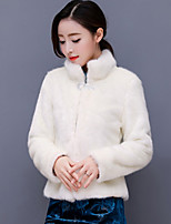 cheap -Women's Casual/Daily Simple Vintage Winter Fur Coat,Solid Stand Long Sleeve Short Faux Fur Fur Trim