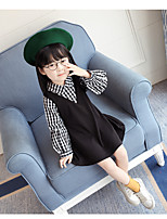 Girl's Casual/Daily Holiday Checks Dress,Cotton Polyester Spring Fall Long Sleeves Simple Black