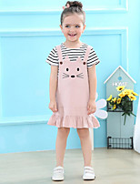 cheap -Girls' Daily Solid Striped Print Clothing Set,Cotton Spring Summer Short Sleeve Cute Active Blushing Pink Yellow
