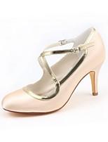 Femme Chaussures Satin Elastique Printemps Automne Escarpin Basique Chaussures de mariage Talon Aiguille Bout rond Boucle pour Habillé