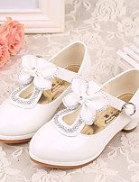 cheap -Girls' Shoes PU Spring Fall Tiny Heels for Teens Heels Bowknot for Casual Pink Black White