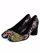 preiswerte -Damen Schuhe Echtes Leder Frühling Herbst Pumps High Heels Stöckelabsatz Runde Zehe für Normal Schwarz